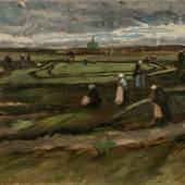 Vincent van Gogh, Raccomodeuses de filets dans les dunes, 1882, Huile sur papier marouflé sur panneau  c_Artcurial