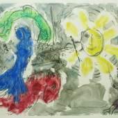 """Marc Chagall """"Manège et soleil"""", 1966, Farbmonotypie (Unikat) auf Japanpapier, 50 x 65 cm, links unten signiert Foto: Galerie Française Gérard Schneider"""