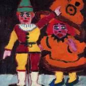 """Emil Nolde,""""Puppe und Hampelmann"""", 1912, Öl auf Leinwand, 66,4 x 49,5 cm, links mittig und rückseitig signiert Foto: Salis & Vertes"""
