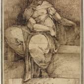 Florentinischer Künstler, Libysche Sybille (nach Michelangelo), um 1530/40, Feder in Braun auf Vergè, Privatbesitz