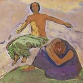 """Koloman Moser """"Trauer und Hoffen"""", um 1914, Öl auf Karton, 28 x 34 cm, links unten monogrammiert: MK Bild: Schütz Fine Art"""