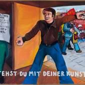 Jörg Immendorf Wo stehst Du mit Deiner Kunst, Kollege?, 1973 Acryl auf Leinwand, 2 Teile / acrylic on canvas, 132 x 210,2 cm Musée d'art moderne de la Ville de Paris © Nachlass Jörg Immendorf, courtesy Galerie Michael Werner Märkisch Wilmersodrf, Köln und New York