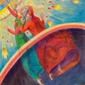 Nr. 9: Theodor Zeller: Blatt 102 , Dante, Divina Commedia, Paradiso  Dante und Beatrice entschweben ins himmlische Paradies.  Mischtechnik (Gouache mit Buntstift) auf Japanpapier   Blattgröße: 96,5 x 65,7 cm (Bildspiegel: 79 x 49 cm); 1939  Leihgabe: Stiftung Oratio Dominica, Freiburg im Breisgau © Theodor Zellers Rechtsnachfolger  Foto: Karl Grohmann