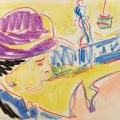 """Ernst Ludwig Kirchner, """"Frauenbildnis mit Hut"""", um 1910, Farbkreiden auf Papier, 26,7 x 34,3 cm, verso:Nachlassstempel E.L.Kirchner Foto: W & K – Wienerroither & Kohlbacher"""
