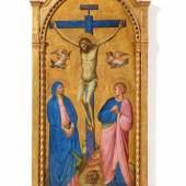 Lot 2015 Nr. 406 918 Giovanni da Bologna Kreuzigung mit Maria und dem hl. Johannes Tempera und Gold auf Holz, 165,4 x 77,2 cm Ergebnis: € 450.000