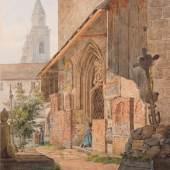 "Friedrich Zeiss, ""Kirchhof zu St. Peter in Salzburg"", Aquarell auf Papier, 25 x 21 cm, links unten signiert Foto: Antiquitäten Kunsthandel Freller"