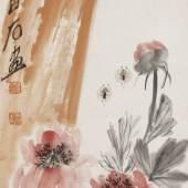 Nr. 378 911 Qi Baishi (1864 – 1957) Vogelpaar auf Felsen an blühendem Aprikosenbaum Hängerolle. Tusche und Farben auf Papier, 99 x 34,5 cm Schätzpreis: € 60.000 – 100.000,-