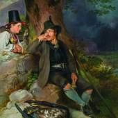 """Johann Fischbach, """"Pinzgauer Jäger mit Mädchen aus Golling"""", 1835, Foto: Kunsthandel Giese & Schweiger"""