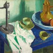 Lot 11 Nr. 398 540 Lyonel Feininger Stilleben auf blauem Tisch. 1911 Öl auf Leinwand, 55 x 75 cm Schätzpreis: EUR 400.000 – 600.000,-