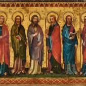 Nr. 384 362 Meister des Siefersheimer Altars, Umkreis Sechs Apostel. Um 1400 Öl auf Leinwand, 120 x 155 cm Schätzpreis: € 250.000 – 300.000,-