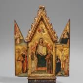 Lot 1001 Meister des Tobias (Maestro di Tobia) Madonna mit Kind und Heiligen und Kreuzigung Öl auf Holz, 46,5 x 28 cm (Mittelstück), 46,5 x 11 cm (Flügel) Schätzpreis: € 120.000 – 160.000,- Ergebnis: € 500.000,-