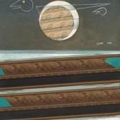 """Max Ernst aus dem Jahr 1953 (€ 500/700.000). Max Ernst hat """"Mer agitée, soleil, nuage et maître Corbeau avec son fils"""" im Jahr 1953 in Collage und Öl auf Leinwand gebracht. Max Ernst war dieses museale Gemälde sehr wichtig, so hat er es bis zum Tode in seinem Haus in Südfrankreich behalten (Lot 22). Max Ernst Mer agitée, soleil, nuage et maître Corbeau avec son fils. 1953 Collage und Öl auf Leinwand, 92 x 73 cm Schätzpreis: € 500.000 – 700.000"""