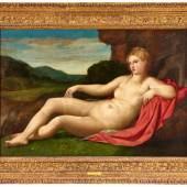 Lot 2019 Nr. 406 691 Jacopo Negretti, gen. Palma Vecchio (1480 – 1525) Liegende Venus in Landschaft Öl auf Leinwand, 112 x 165 cm Ergebnis: € 750.000