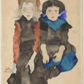 Egon Schiele, Zwei kauernde Mädchen, 1911