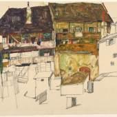 Egon Schiele, Alte Häuser in Krumau, 1914