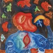 1278 Arik Brauer (*1929), Limit: 1.200,- EUR  Arik Brauer (*1929), Hauptvertreter der Wiener Schule des phantastischen Realismus, 'Der Kipflesser', 1962, Aquarell u. Gouache auf Papier, u. re. sign.