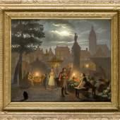 Petrus van Schendel (1806-1870) (attr.), Umkreis, Belgischer Genremaler, bekannt für seine nächtlichen Szenen, hier ein Nachtmarkt in Antwerpen, Öl/Holz.Limit: 5.500,- EUR