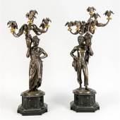 Charles Cumberworth (1811-1852), seltenes Paar figürlicher Leuchter mit kolonialen Figuren. Afrikaner mit Korb Startpreis 3.000 EUR