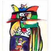 Otmar Alt (*1940), ''Katze'', Tusche, Öl und Aquarell auf Büttenpapier, re. sign. u. dat. (19)92, 28 x 24,5 cm, hinter Glas u. Pp. ger. 49 x 44 cm Startpreis 600 EUR