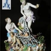 """Große Figurengruppe """"Der Tritonenfang"""". MEISSEN 1860 - 1923, 1. Wahl"""