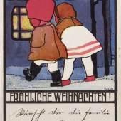 Velim, Anton.  Fröhliche Weihnachten. Wiener Werkstätte-Postkarte No. 878. Farblithographie, um 1913. 750,- (Meindl & Sulzmann, Wien)
