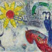 10. Marc Chagall, Soleil au cheval rouge ,oil on canvas, 1977