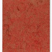 Lot 2 Jennifer Guidi Energy Of Love (Painted Universe Mandala SF #4F, Red, Natural Ground) oil, acrylic and sand on linen 92 by 74 in. 233.7 by 188 cm. Executed in 2018. This work was donated to the (RED) Auction by the Artist, Gagosian Gallery, David Kordansky Gallery and Massimo De Carlo.  Estimate $120/150,000 Sold for $375,000