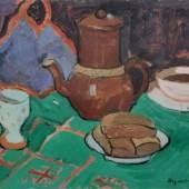 """899   Albert Wigand """"Stilleben mit brauner Kaffeekanne und Topflappen"""". 1940. Schätzpreis: 3.500 - 4.000 €"""