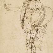 Lot23 Raffaello Sanzio, called Raphael A Standing Soldier in Armor Seen in Profile Pen and brown ink; bears old attribution on the verso in pen and brown ink, just legible with infrared light: ..Raffaello d'Urbbino.. and a faint pencil inscription, most probably 19th-century, on the left, slightly above the lower margin: Scuola Romana / Raphaele fecit inv.; bears numberings, verso: 2350 (blind stamped, upper centre), C.341 (in red chalk, upper left) and 7 and4 (both black chalk) 272by175mm;103/4