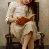 Lot 407 Property From A Distinguished Private Collection, Virginia William Bouguereau Le Livre De Prix signed W-BOUGUEREAU- and dated 1901 (lower left) oil on canvas 45 1/2 by 22 1/8 in.; 115.6 by 56.2 cm Estimate $1/1.5 million