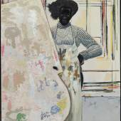 Lot 209 Kerry James Marshall Untitled (Painter) signed with the artist's initials and dated '08 acrylic on PVC panel, in artist's frame 283⁄4 by 243⁄4 in. 73 by 62.9 cm. Estimate $1.8/2.5 million Sold for $7,325,800