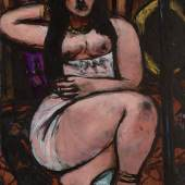 Max Beckmann Liegender Akt in starker Verkürzung (Reclining Nude Sharply Foreshortened) Oil on canvas 29 by 21 in. Signed Beckmann and dated St. L. 48 lower left Executed in 1948 Estimate $3/5 million