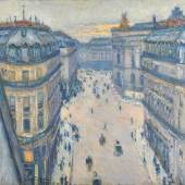 Lot 17 Lumières: The Levy Family Collection Gustave Caillebotte La Rue Halévy, Vue Du Sixième Étage Signed G. Caillebotte and dated 1878 (lower left) Oil on canvas 23 1/2 by 28 3/4 in. 59.5 by 73 cm Painted in 1878. Estimate $6/8 million Sold for $ 13,932,000