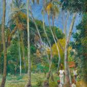 Lot 18 Lumières: The Levy Family Collection Paul Gauguin Chemin Sous Les Palmiers Signed P. Gauguin and dated 87 (lower right) Oil on canvas 35 by 23 1/2 in. 89 by 59.5 cm Painted in 1887. Estimate $6/8 million Sold for $8,237,000
