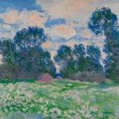 Lot 30 Property from the Raymond Nacenta Collection Claude Monet Prairie, ciel nuageux Signed Claude Monet and dated 90 (lower right) Oil on canvas 23 5/8 by 39 3/8 in. 60 by 100 cm Painted in 1890. Estimate $6/8 million