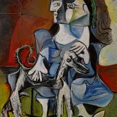 Lot 33 Property from a Private Collection, Japan Pablo Picasso Femme au chien Signed Picasso (upper left); extensively dated (on the reverse) Oil on canvas 63 3/4 by 51 1/4 in. 162 by 130 cm Painted from November 23 to December 14, 1962. Estimate $25/30 million