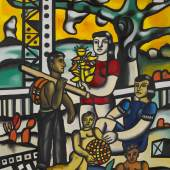 Lot 5 Property from a Distinguished Estate Fernand Léger Le Campeur, 1er État Signed F.Leger. and dated 54 (lower right); titled, signed F. Leger. and dated 54 (on the reverse)  Oil on canvas 63 3/4 by 51 1/8 in. 162 by 130 cm Painted in 1954.  Estimate $6/8 million Sold for $8,237,000