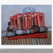 Lot 23 The Gerald L. Lennard Foundation Collection Philip Guston Legs, Rug, Floor signed, titled, dated 1976, and variously inscribed on the reverse oil on canvas 80 by 100 in. 203.2 by 254 cm. Estimate $6/8 million