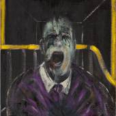 Lot 9 Works from the Collection of Richard E. Lang and Jane Lang Davis Francis Bacon Study for a Head inscribed with artist's symbol oil and sand on canvas 26 by 22 in. 66 by 56 cm. Executed in 1952. Estimate $20/30 million