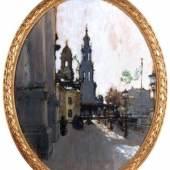 """421   Gotthardt Kuehl """"Brühlsche Terrasse mit Hofkirche"""". Um 1910. 6.000 - 18.000 €"""