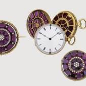 Wandelbare Schmuckuhr-Kreation, Gold, Silber, mit Diamanten und Granaten, um 1880, Auktion 14. 10. 2010, € 3.000 - 4.000