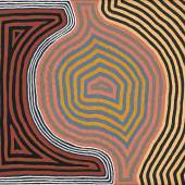 Lot 13 Property from the Collection of Gabrielle Pizzi Ronnie Tjampitjinpa Tingari Ceremonies at the Site of Pintjun Synthetic polymer paint on linen Bears artist's name and Papunya Tula Artists catalogue no. RT890931 on the reverse 60 in by 71 in (152 cm by 180 cm) Estimate $120/180,000
