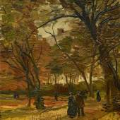 Lot 22  Property from the Collection of Dr. Emil Hahnloser Vincent van Gogh People Strolling in a Park in Paris Signed Vincent (lower right) Oil on canvas 18 1/4 by 15 in. 46.5 by 38 cm Painted in Paris in the fall of 1886. Estimate $5/7 million Sold for $ 9,717,700