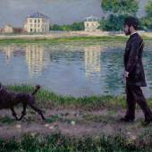 Lot 25 Property of a Gentleman Gustave Caillebotte Richard Gallo et son chien Dick, au Petit Gennevilliers SignedG. Caillebotteand dated1884(lower left) Oil on canvas 35 by 45 1/2 in. 89 by 116 cm Painted in 1884. Estimate $18/25 million Sold for $19,686,000