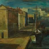 Lot-Nr: 101 Tischler, Victor (1890 - 1951) Titel: Hafenszene Schätzpreis: 16000 - 18000,- Euro Rufpreis: 8000,- Euro