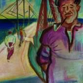 Max Unold, Auf der Seebrücke. Pastell auf bräunlichem Aquarellpapier Links unten signiert. 32 x 25,5 cm ( in), fast blattgroß. [LW]