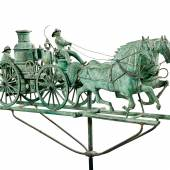 An Exceptional and Rare Molded Sheet-Copper and Zinc Fire Pumper and Double-Horse Weathervane, Cushing & White, Waltham, Massachusetts, Circa 1870 Estimate $100/150,000 Sold for $435,000