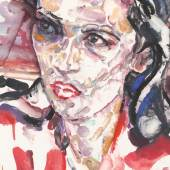 Elizabeth Peyton Alexandria Ocasio Cortez, 23 July 2020 signed, partially titled and dated 2020 on the reverse monotype with oil and pastel on handmade paper Estimate $50/70,000