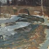 """031   Otto Altenkirch """"Bobritzschbrücke"""". 1904. Ausrufpreis 2.400 €"""