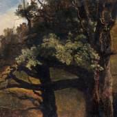 008   Christian Friedrich Gille, Baumstudie - alte Laubbäume am Waldsaum. Um 1860. 6.000 €
